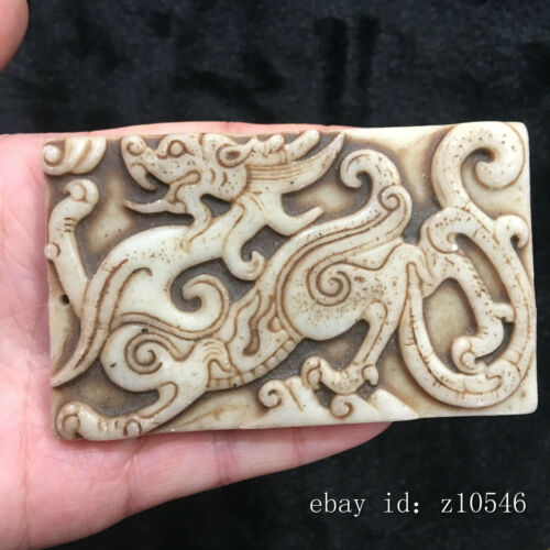 Exquisite China Old jade Hand carved Dragon totem Pendant