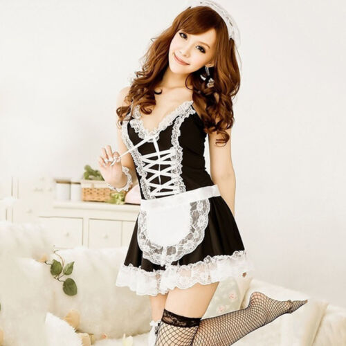 French maid waitress fancy dress costume servant outfit hen party Cosplay *UK