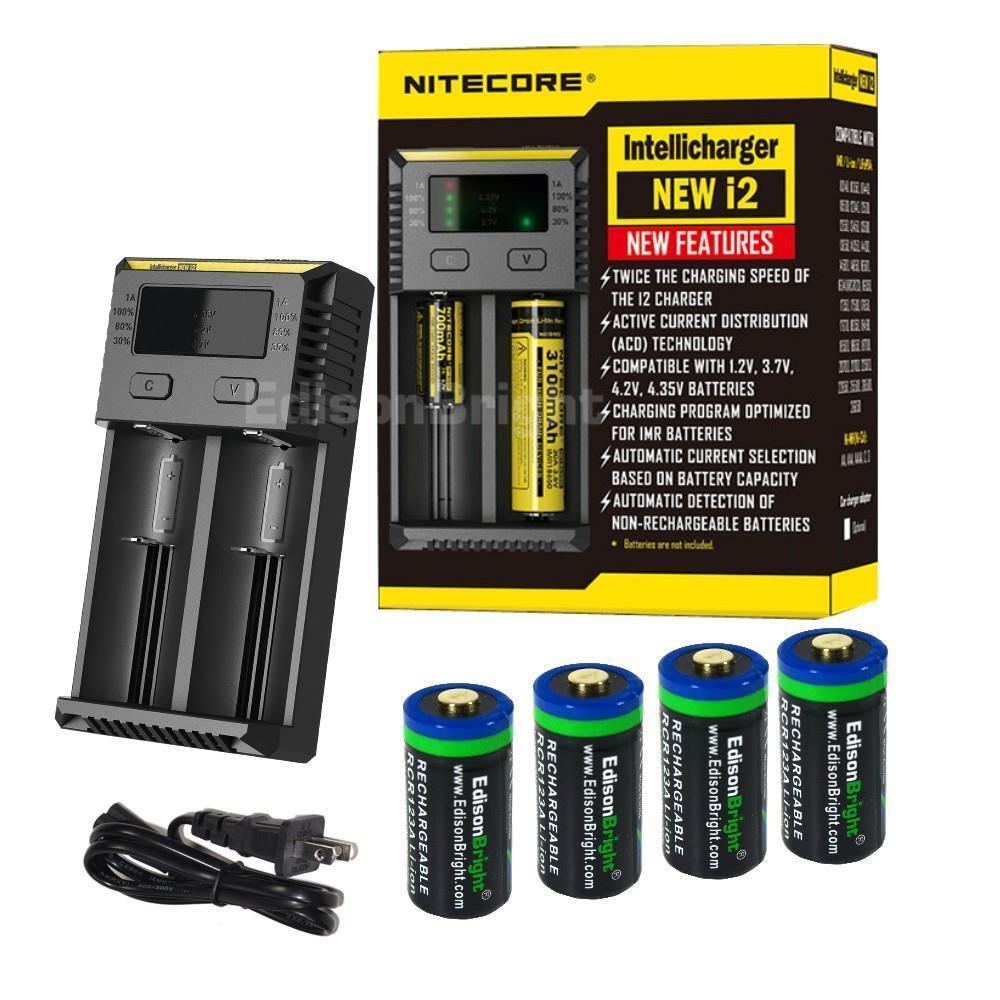 NITECORE New i2 charger w 4 X RCR123A Li-ion 650mAh rechargeable batteries EBR65