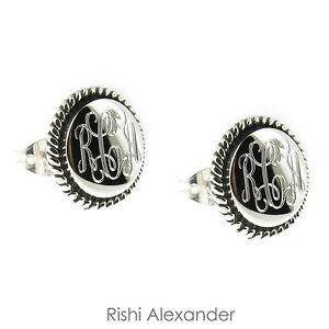 12mm 925 Sterling Silver Rope Edge Monogram Personalized Earrings