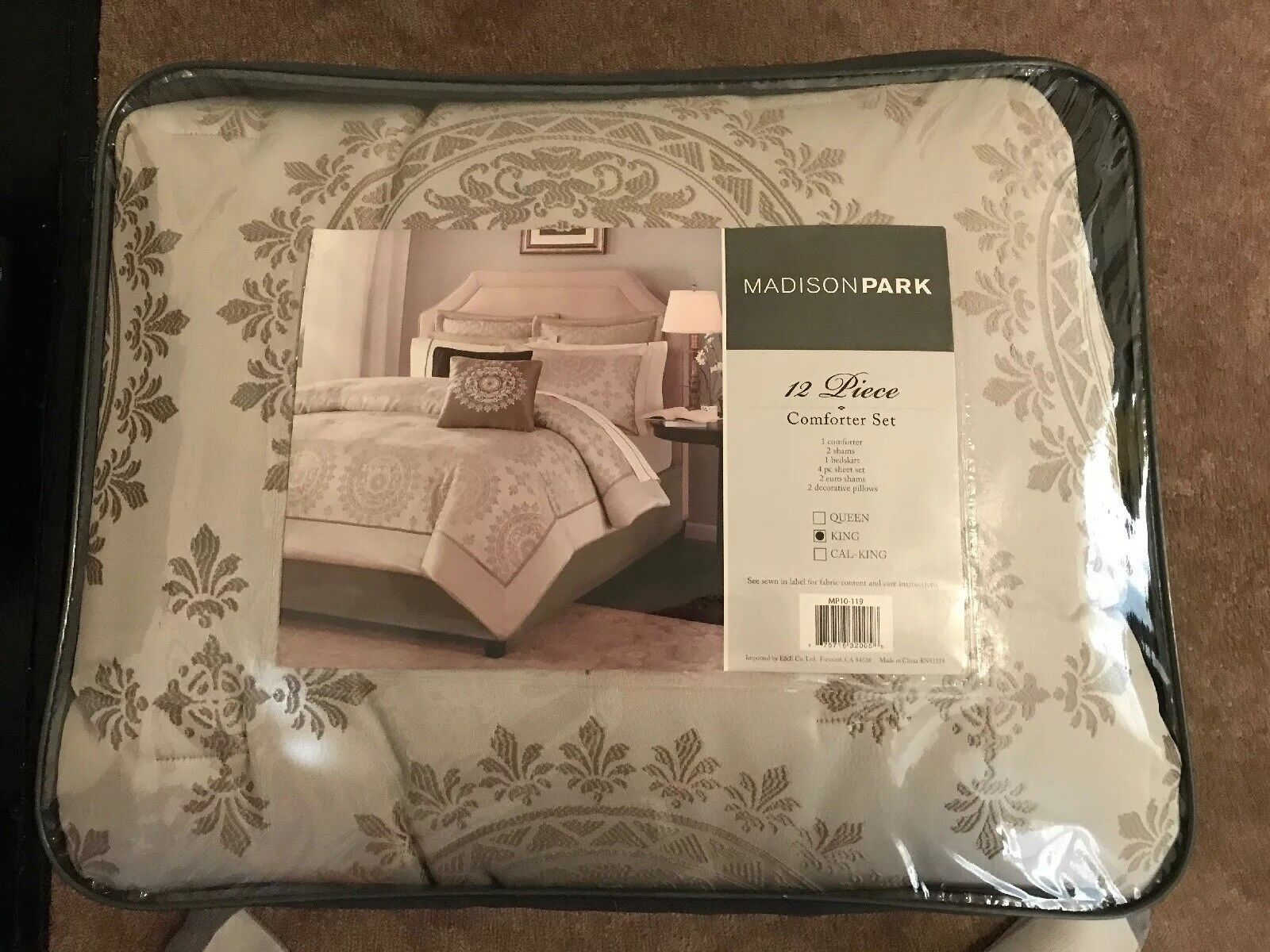 12pc Taupe & Ivory Reversible Medallion Comforter & Sheet Set for King Bed New