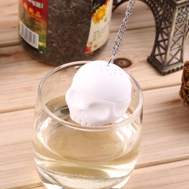 Silicone Skull Teapot Infuser Herbal Diffuser Filter Bag Tea Leaf Strainer DG