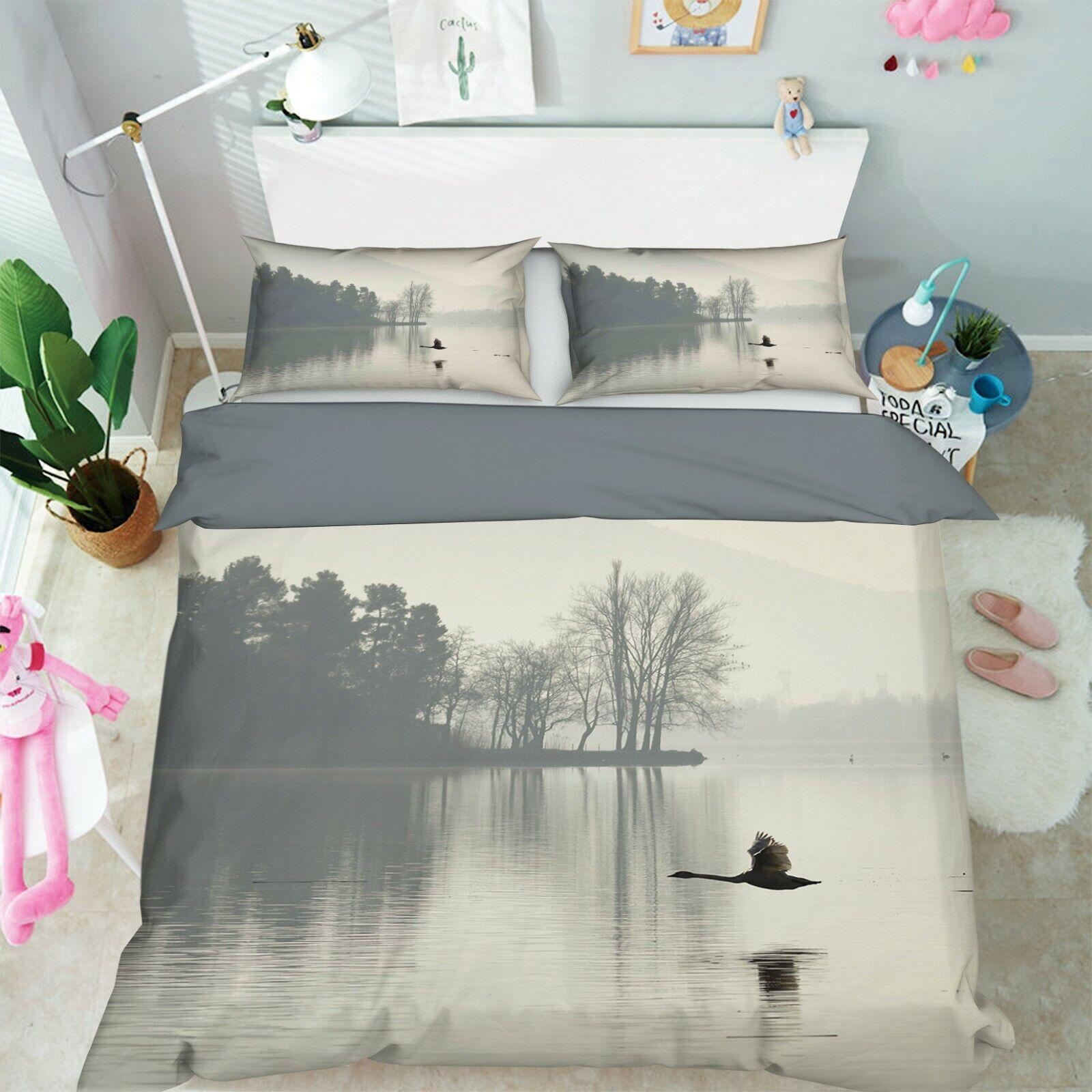 3D Fog Swan Flying R12 Animal Bed Pillowcases Quilt Duvet Cover Queen King Zoe