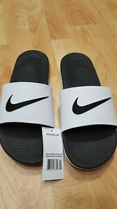 aa9df542163047 Nike Men s Sz 12 Kawa White Black (832646 100) Slide Sandals NWTs ...