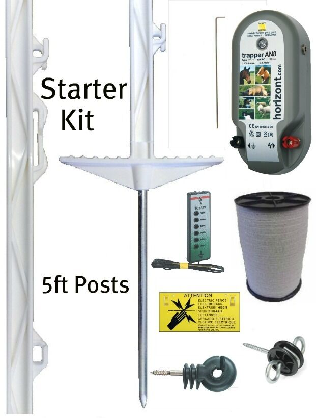 ELECTRIC FENCING STARTER KIT 5ft Tall White Posts 20mm Fence Tape Horse