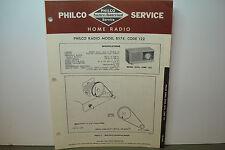 PHILCO RADIO SERVICE MANUAL MODEL B574 CODE 122