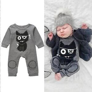 48fc3b6eb Newborn Infant Baby Boys Girls Cat Warm Romper Jumpsuit Bodysuit ...