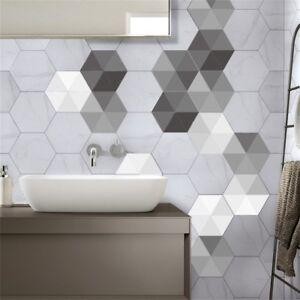 Adesivi piastrelle mosaico 10pz trasferimenti cucina bagno effetto marmo grigio ebay - Piastrelle bagno effetto mosaico ...