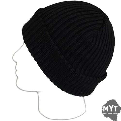 Mens Thermal Hat Chunky Knit Wooly Insulated Black 1.7 Tog Insulated Winter Hat