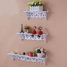 3pcs White Wooden Wall Mounted Shelf Display Hanging Rack Storage Holder Home
