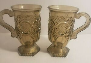 Vintage Avon Cape Cod Smoky Amber Pedestal Glasses Set of 2
