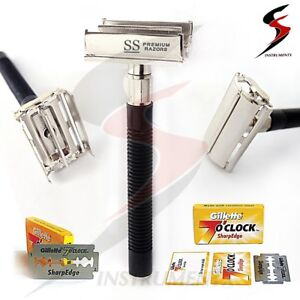 Safety-Razor-amp-10-x-Double-Edge-Blades-Classic-Shaving-Vintage-Butterfly-Open