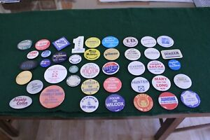Vintage-Lot-of-42-Collectible-National-amp-Regional-Political-Pinbacks