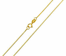 "14K Solid Real Yellow Gold 0.5mm Light Box Link Chain Necklace 18"" Inches Women"