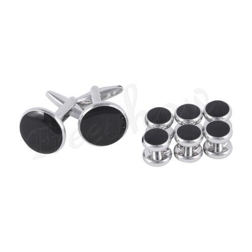 8pcs Men/'s Round Tuxedo Shirts Stainless Steel Link Cufflinks /& Button Studs Set
