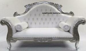 Remarkable Details About Charles Ornate French Silver Louis Cuddler White Faux Leather Double Chaise Sofa Creativecarmelina Interior Chair Design Creativecarmelinacom
