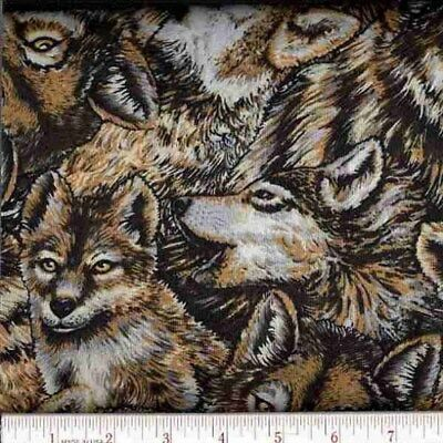 Fabric Wild Wolves Wolf on Cotton by Elizabeth 1//4 yard