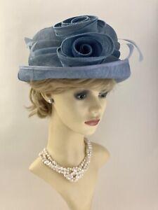 Sinamay Light Blue Dress Hat Weddings Church With Flower Rosette Detail