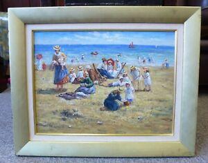 Original-Framed-Vintage-Oil-Painting-Edwardian-Victorian-style-Seaside-Beach