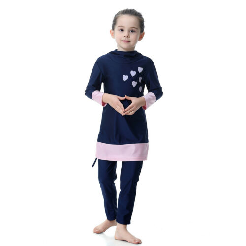 Toddler Kids Girls Swimwear Muslim Child Modest Full Cover Swim Clothes Set Suit