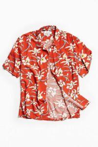 Mens-Hawaiian-Shirt-Tropical-Luau-Beach-Aloha-Party-Red-Caribbean-Summer-Cruise