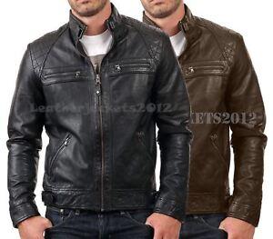 Mens-Black-Leather-Jacket-Genuine-Sheep-Leather-Biker-Style-ST-82