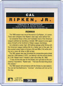 Rare-1992-FLEER-WRONGBACK-ERROR-Cal-Ripken-Jr-Pro-Visions-711-Jose-Lind