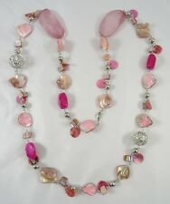 """Gorgeous New 41"""" Pink & Coral Tone Shell & Filagree Bead Necklace #N2343"""