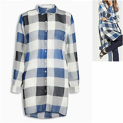 Next size 12 Longline Shirt Cover Up Semi Sheer Check Long Sleeves Blue Grey New