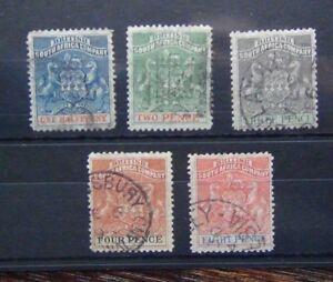 Rhodesie-1892-1894-valeurs-de-8d-Fine-Used