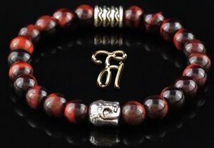 Intelligent Tigerauge Rot Armband Bracelet Perlenarmband Buddhakopf Silber 8mm