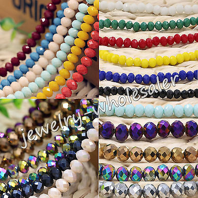 Wholesale Beautiful Rondelle Faceted Crystal Glass Loose Spacer Beads 4//6//8//10mm