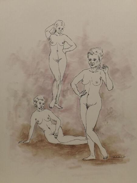 """ 3 Chica/mujeres Desnudo No.58"" Pintura / Técnica Mixta. Firmado Wedekind"