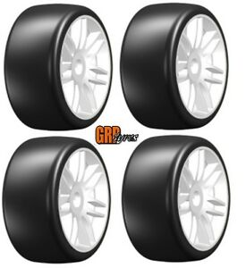 GRP GTH02-S7 GT T02 Slick S7 MediumHard Mounted Belted Tires (4) 1/8 Buggy WHITE