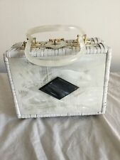Delill Vintage White Woven Box Purse with White Pearl Plastic Decorative Front