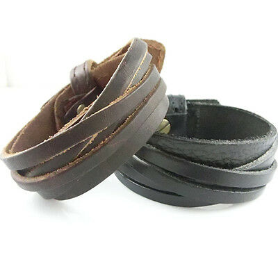 Hot Sale Men Women Unisex Multi thong braided thin Genuine Leather Wristband