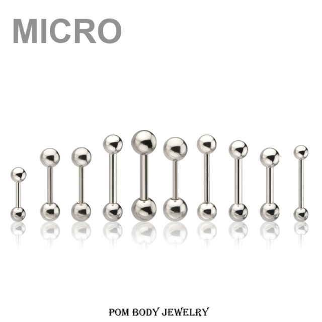 20G 18G 16G 14G Surgical Steel MICRO Straight Barbell Ear Eyebrow Nipple Rings