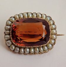 Stunning Antique Victorian Scottish Gold Cairngorm Citrine & Pearl Brooch c1865