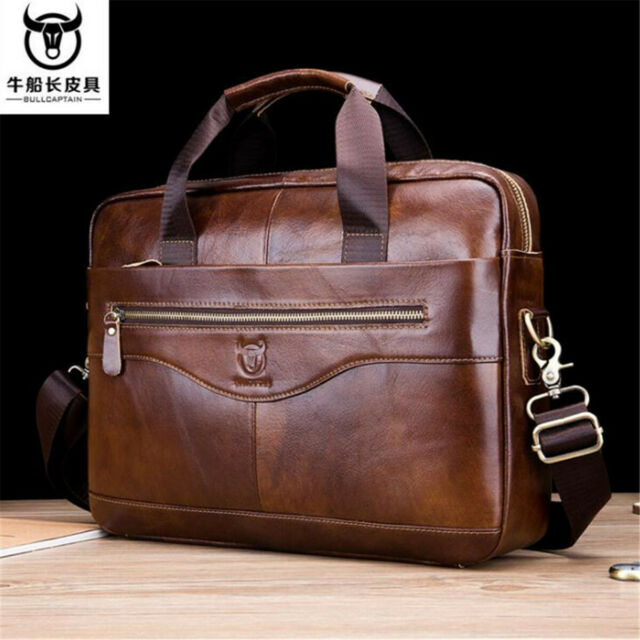 Mens Black Genuine Leather Briefcase Laptop Handbag Business Shoulder Bag