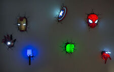 Set/Lot/Bundle of 7 Marvel AVENGERS SPIDER MAN 3D FX Deco Wall LED Night Lights