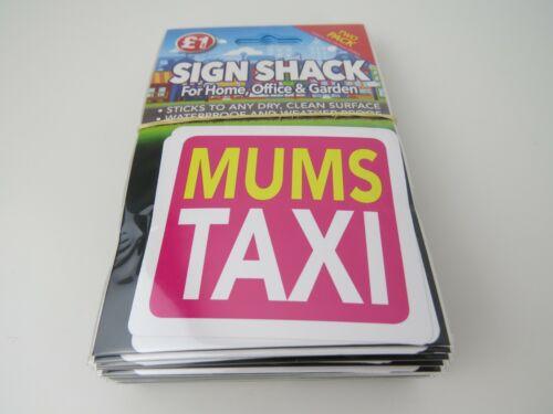 """Mums Taxi Vinyle Voiture Fenêtre Autocollant env 3/"""" Lot de 4"""