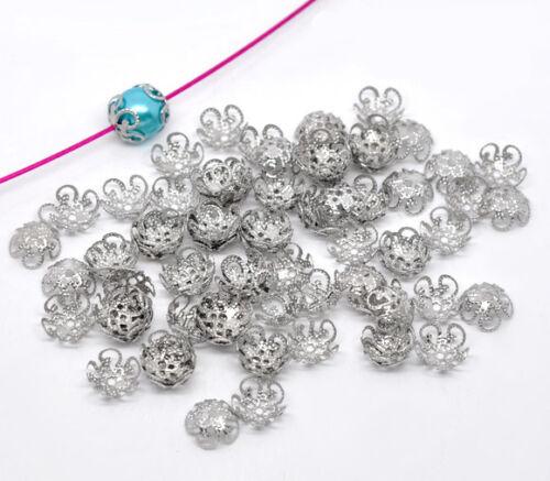 Großverkauf Silberfarbe Blume Perlen Beads Ende Kappen 10x4mm LP