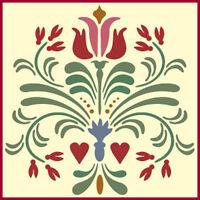 Rosemaling Pattern 14 Stencil- Swedish Kurbits - The Artful Stencil