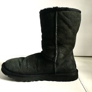 Image is loading Ugg-Boots-Australia-Size-6-Black-Short-Suede-