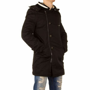 GIACCA-UOMO-BISTON-Parka-Cappotto-Giubbino-Giaccone-con-cappuccio-colore-nero