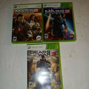 Lot Of 3 XBOX 360 Games Mass Effect 2- 3 Gears Of War 3 Complete Tested Vg Cond