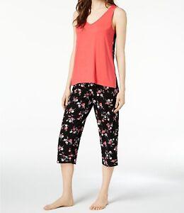 Alfani-Women-039-s-Sleeveless-Capri-2-Piece-Pajama-Set-Black-Bouquet-Flowers