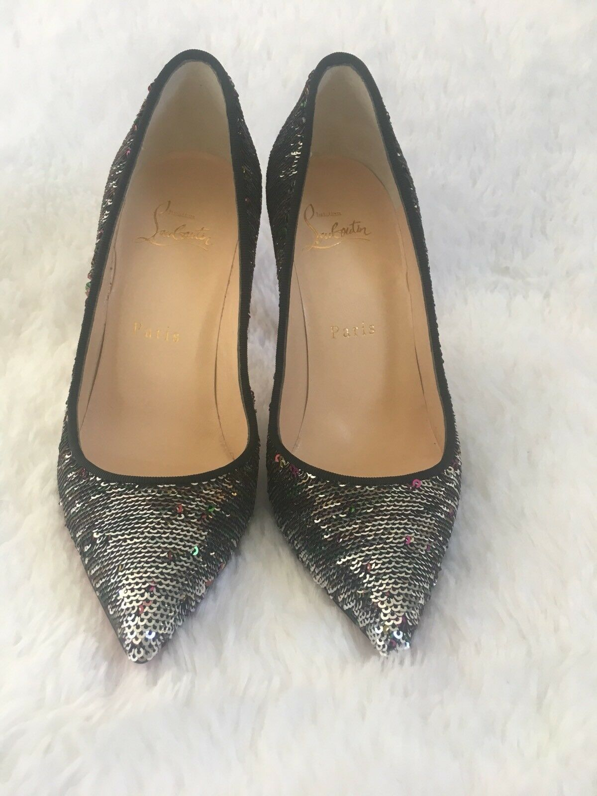 Christian Louboutin Pigalle Follies 100 Pailletes Caresse Caresse Caresse Sequin Pumps 36  745 ec48c5