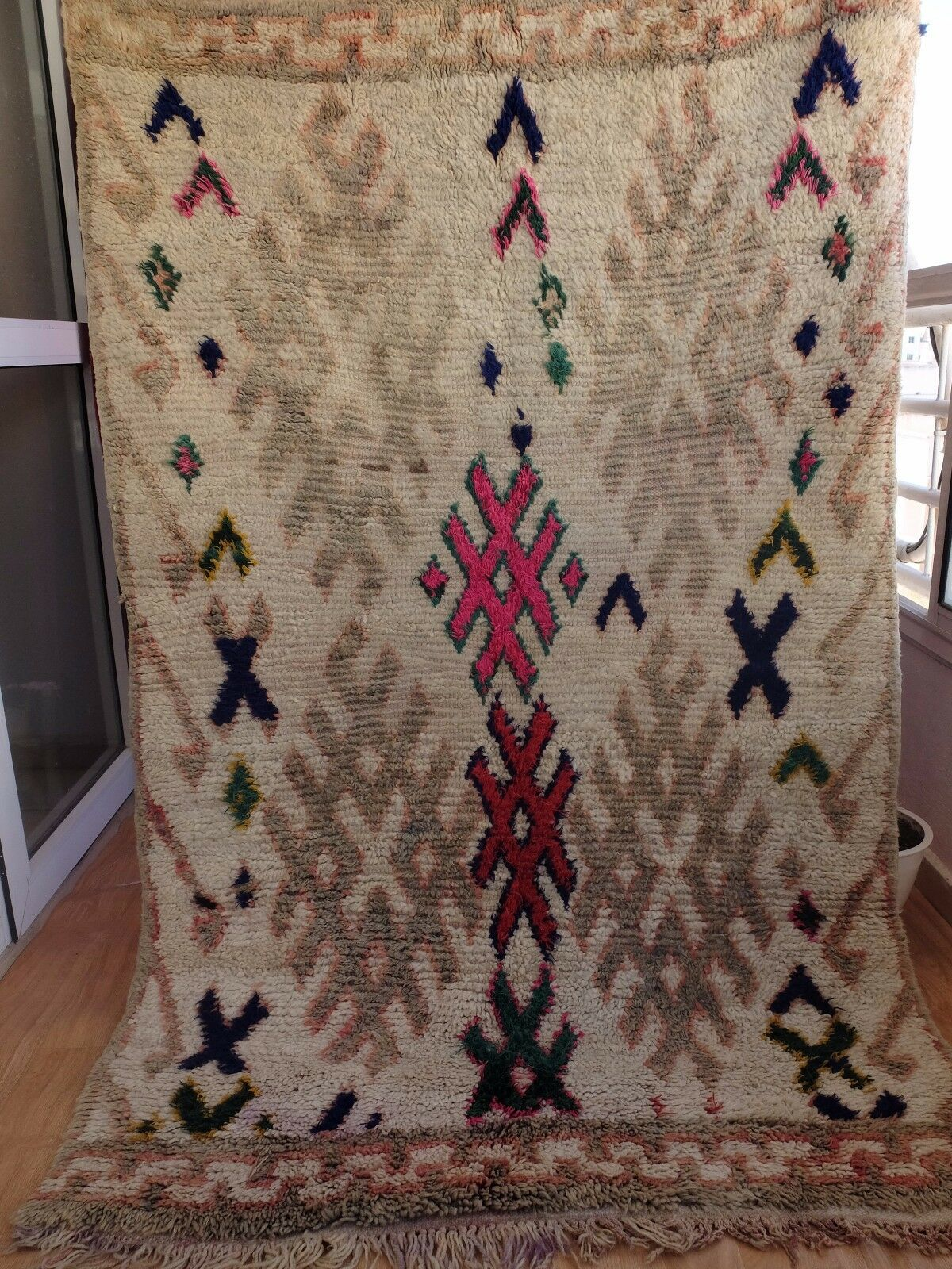 Vintage Moroccan Hand Woven by Berber Rug Azilal  Berber Carpets 5'8'' 3'8''