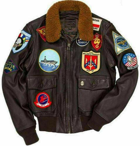 Top Gun Tom Cruise Peter Maverick Braune Lederjacke für Männer Flugbomber